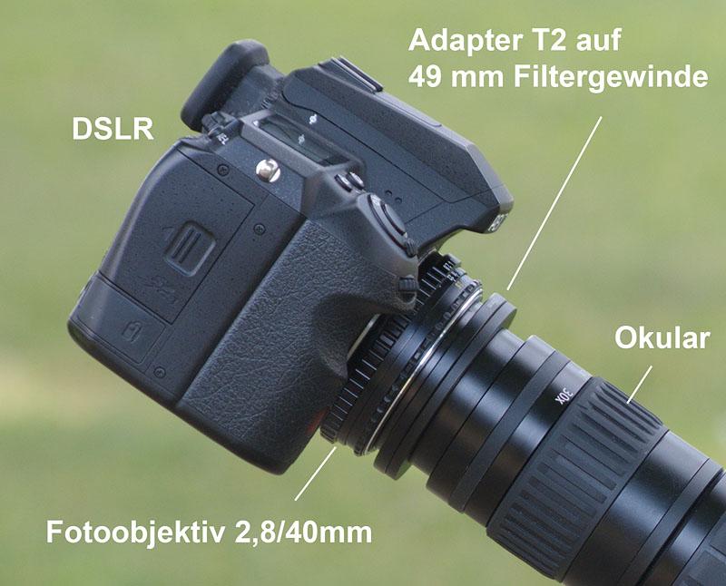 Digiscoping mit der dslr mit dem spektiv fotografieren. digiskopie
