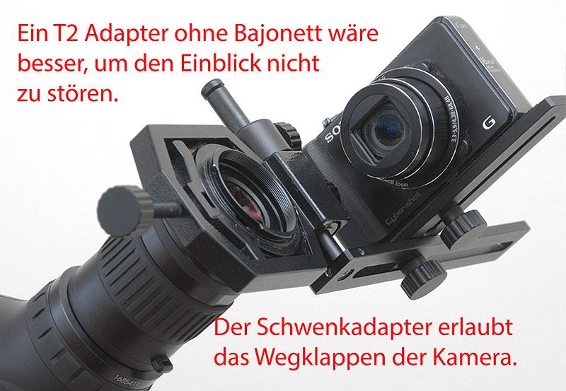 Digiscoping mit der digitalen kompaktkamera mit dem spektiv